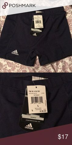 NWT Adidas Compression Shorts Women's size large. Navy color, brand new with tags. Shorter length. adidas Other