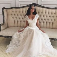 2016 Spring Wedding Dresses Lace Cap Sleeves A-Line Sheer V Neck Floor Length Tulle Pricness Cheap Spring Garden Wedding Gowns Bridal Dress Online with $126.06/Piece on Sweet-life's Store | DHgate.com