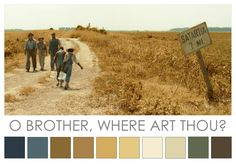 O Brother, Where Art Thou? (2000). Joel & Ethan Coen's film was one of the first to be entirely digitally colour-graded. Set in 1930s America, the film has an overall sepia colour tone - the saturated colours of reality are replaced by a hand-tinted effect, giving an idealised version of the dusty Mississippi Delta. Cinematographer Roger Deakins spent many post-production weeks de-saturating the colours to achieve the aesthetic of the Great Depression dust  bowl era.