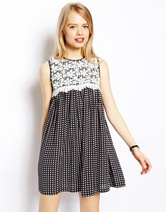 ASOS Swing Dress In Spot With Crochet Lace