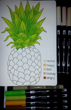 Bullet Journal Mood Tracker -  I traced a drawing of a pineapple that I found on Google and I love it! #bulletjournal #moodtracker #pineapple #tombow #micron #leuchtturm1917