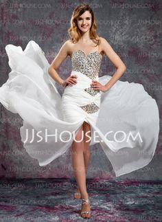 Sheath Sweetheart Court Train Chiffon Prom Dresses With Ruffle Beading (018019139) - JJsHouse