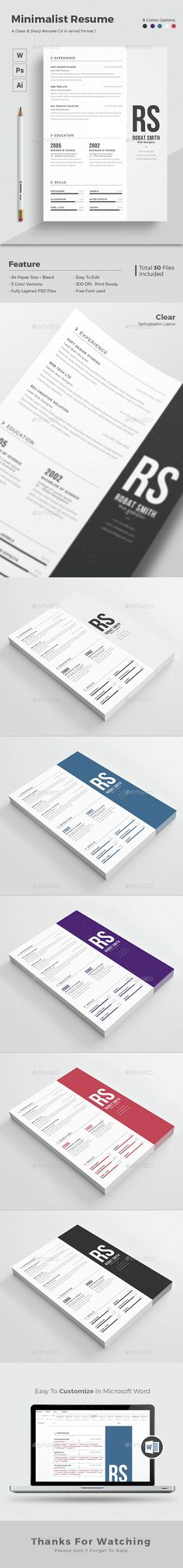 Minimalist Resume Template PSD, Vector EPS, AI. Download here: http://graphicriver.net/item/minimalist-resume/14631931?ref=ksioks