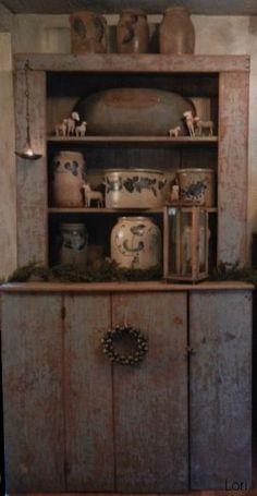 Primitive Blue Cupboard with Old Crocks