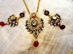 Majestic White pearl,green and red stone Gold Tone  ethnic pendent  Set