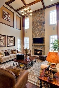 Home decor on pinterest decorating tall walls pink Two story living room decorating ideas