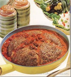 Big Wheel Burger Skillet from 1969 - Wonder if I could substitute Boca crumbles for the ground beef?