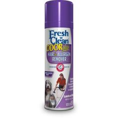 Fresh n Clean Odor Plus Hair Allergen Remover for Upholstery penetrates into fabric to eliminate pet odors on contact.    Special formula breaks the static bond that keeps pet hair and allergens stuck on carpets and upholstery.    Once the bond is broken, hair and allergens are easily removed with a vacuum.    Dries quickly and leaves a fresh, clean fragrance.    Size: 15 ounce