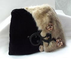 Velvet purse, vintage upcycle handbag, black velvet with vintage fox fur, vintage hardware and vintage jewelry, OOAK couture