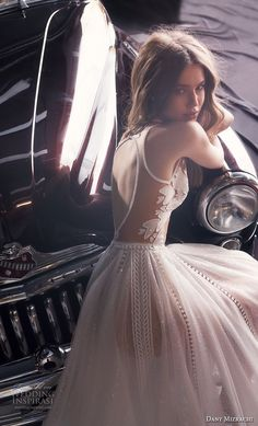 dany mizrachi fall 2018 bridal sleeveless jewel neck heavily embellished bodice tulle skirt romantic a line wedding dress keyhole back chapel train (14) zbv -- Dany Mizrachi Fall 2018 Wedding Dress | Wedding Inspirasi #wedding #weddings #bridal #weddingdress #bride ~