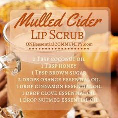 "15 DIY Fall Beauty Recipes using essential oils- ""pumpkin pie"" sugar scrub, ""harvest spice latte"" coffee scrub, ""spiced chai"" lip balm, ..."