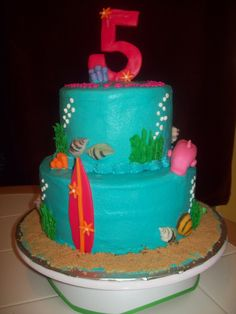 She likes the sand, surfboard, seashells and number 5 on this cake.