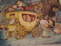 AK Fabig Distling 1954 Engel Weihnachten Glückwunsch Pferde-Kutsche Geschenke…