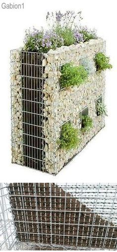 gabion lined with small plastic mesh from garden centre, allows soil to be placed inside baskets. http://www.gabion1.com