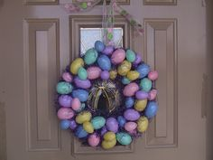 Keeping it simple: Easter wreath made out of plastic eggs.  So easy and cute!