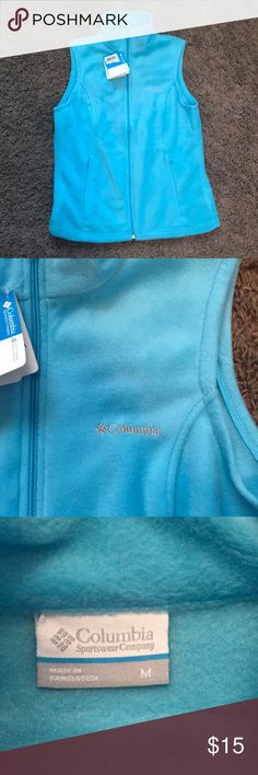 Columbia blue vest Never worn fuzzy blue vest Columbia Jackets & Coats Vests
