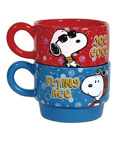 This Snoopy Be Who You Want to Be Stackable Mug Set by Westland Giftware is perfect! #zulilyfinds