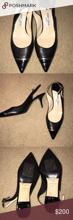 Jimmy Choo Black Pointed Heels Like new, perfect condition! Virtually no signs of wear! Size 7 but fit small. I'm a 6- 6 1/2 and they fit perfectly. Heel is 2 inches Jimmy Choo Shoes Heels