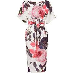 Phase Eight Chantay Rose Dress, Multi (€86) ❤ liked on Polyvore featuring dresses, midi dress, white dress, kimono sleeve dress, floral dress and shift dress