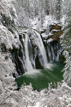 Burney Falls Northern California...awesome falls in winter! -I love Burney Falls never been in winter, must try -H