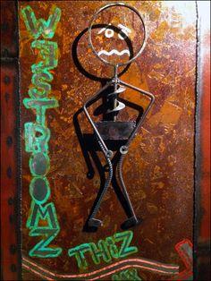 Street Art Restroom Directionals – Fixtures Close Up Retail Fixtures, Rust, Toilet, Street Art, Sign, Sculpture, Detail, Store, Flush Toilet