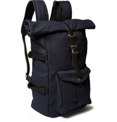 Filson Leather-Trimmed Twill Backpack