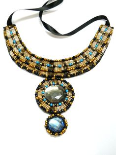 Egypt inspired bib beaded necklace by AniDandelion