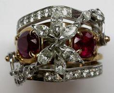 Anello in oro bianco e rosso con diamanti e rubini...una montatura unica e originale!