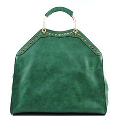New Arrival Designer Inspired Fashion Unique Round U Shape Handle Detailded Gilden Samll Square Rivet Studded Solid Tote Satchel Office Handbag Purse with Adjustable Crossbody Shoulder Strap in Green | Perfectly Purse
