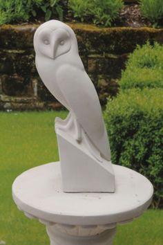 LARGE WHITE LIMESTONE OWL STONE GARDEN STATUE FREE DELIVERY   eBay