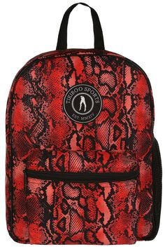 Pack Your Gym Kit, School Books Or Weekend Essentials Into Tikiboo's Funky Snake Bite Backpack. Featuring A Bold Red And Black Reptile Print, Stand Out In Your Fearless Scales! Snakebite, Gym Bags, Hand Luggage, Vera Bradley Backpack, Fashion Backpack, Trainers, Towel, Essentials, Hands