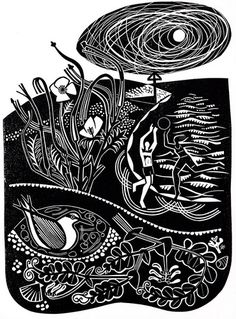 Summer Coast - Linocut by Clare Curtis