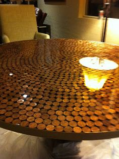 Penny Table Top  For All My Saved Lucky Pennies!