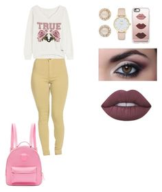 """""""Outfit for Noura"""" by tieraali ❤ liked on Polyvore featuring True Religion, Kate Spade, Casetify, Versace and Lime Crime"""