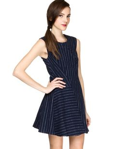 "Calling all office girls! Show up at the office in style with this super chic sleeveless fit and flare navy woolen dress. Has white stripes printed all over and pleated detail. Zip hook closure on back, fully lined. With fall dresses this cute, just add your favorite fall leather boots and cross body bag. By Joa. *100% polyester*32""/81cm bust*26""/66cm waist*33.5""/85cm length*Measurements are taken from size small.*Model is wearing size small and model's height is 5'10""/178cm."
