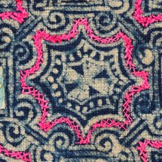Interesting combination of printing and stitching on this Chinese textile