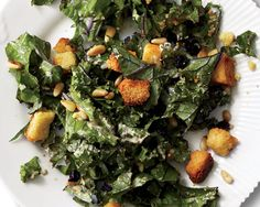 A Very Seasonal Side Dish: Kale Salad with Cornbread Croutons - Photo by: Christopher Testani http://www.womenshealthmag.com/nutrition/kale-salad-croutons