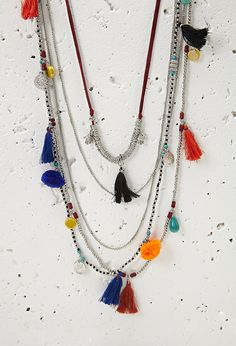 Layered Chain Beaded Tassel Necklace | Forever 21 - 1000054477