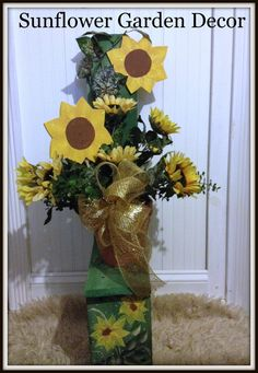 Sunflower Outdoor Garden Decor by Ittakes2krafters on Etsy