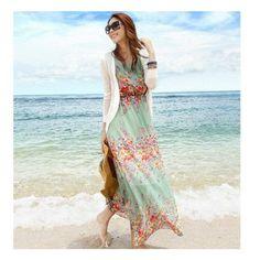 Floral Dress  /  Wholesale Dress Tweed - Buy Trendy Women New Tank Dresses Lady Bohemia Printing Pattern Chiffon Dress Elastic Waist Sleeveless Beach Maxi Dress / tags: hijab, hijab fashion, hijab style