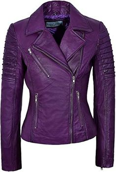 online shopping for Ladies Real Leather Jacket Stylish Fashion Designer Soft Biker Motorcycle Style 9334 from top store. See new offer for Ladies Real Leather Jacket Stylish Fashion Designer Soft Biker Motorcycle Style 9334 Purple Leather Jacket, Fringe Leather Jacket, Leather Jacket Outfits, Leather Jackets, Purple Jacket, Motorcycle Style, Motorcycle Fashion, Biker Style, Jacket Style