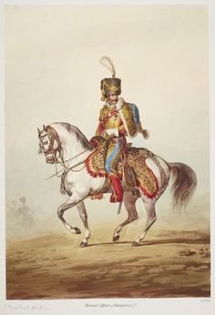 1814 Alexander Ivanovitch Sauerweid (1783-1844) - French Army. Chasseurs à Cheval of the Imperial Guard. Probably purchased by George IV when Prince Regent A watercolour of a mounted officer from the elite Imperial Guard, which was personally commanded by Napoleon. The drawing is traditionally held to represent Marshal Mortier who was forced to miss the Battle of Waterloo due to an attack of sciatica. www.royalcollection.org.uk