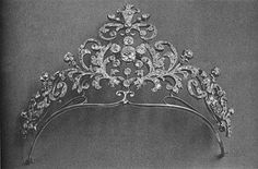 Princess Lobanoff de Rostov tiara is an interweaving collection of foliates centered on a diamond cluster.