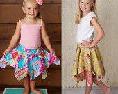 Skirt Pattern for Girls - Handkerchief Skirt Pattern - Pixie Hem Skirt Tutorial. $6.95, via Etsy.