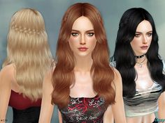 Hairstyle for Sims 4, Females, Teen through Elder.  Found in TSR Category 'Sims 4 Female Hairstyles'