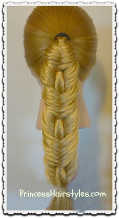 Stitched fishtail braid hair tutorial, cute and easy