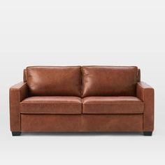 Henry® Pull-Down Leather Sleeper Sofa - Full (Tobacco)