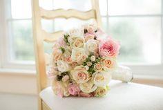 Cream and pink rose bouquet with satin wrap  (photo by Amalie Orrange Photography)