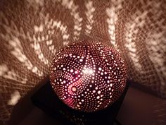 Rêve d'Adhara, lampe d'ambiance étoilée en noix de coco sculptée