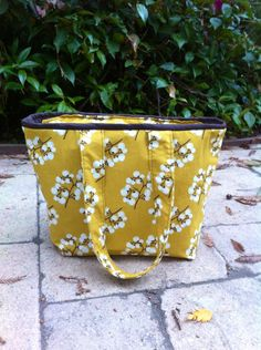 Insulated Lunch Bag with Zipper, Mustard Yellow Large Lunch Tote by MyaCdesign on Etsy
